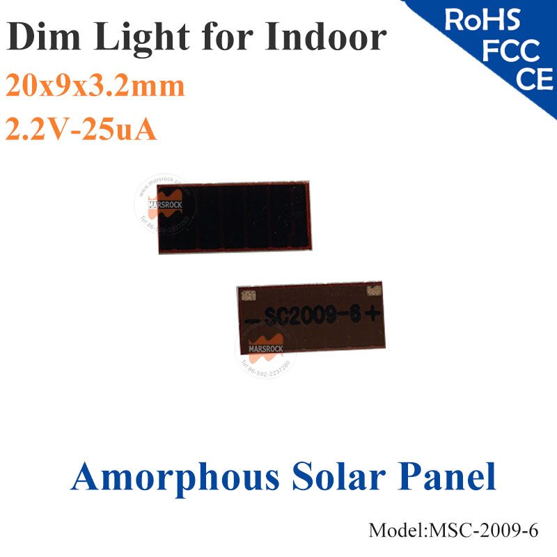 20x9mm 2 2 v 25ua dim luz vidro ito de celulas solares de silicio amorfo de