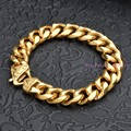 Amaze Design 7-11inch Custom Sizes 15mm Yellow Gold Cuban Link Chain 316L Stainless Steel Bracelet Bangle Male Fashion Jewelry