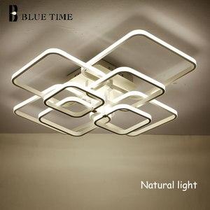 Image 4 - New Square Rings Frame Modern Led Ceiling Lights For Living Room Bedroom White Or Black Arms Ceiling Lighting Fixtures AC85 260V