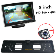 High Resolution 5 TFT Car Video hd Parking Monitor 800 x 480 with eu License Plate Frame Rear View Camera kit , Free Shipping 5 7 advanced type tft lcd display with high resolution