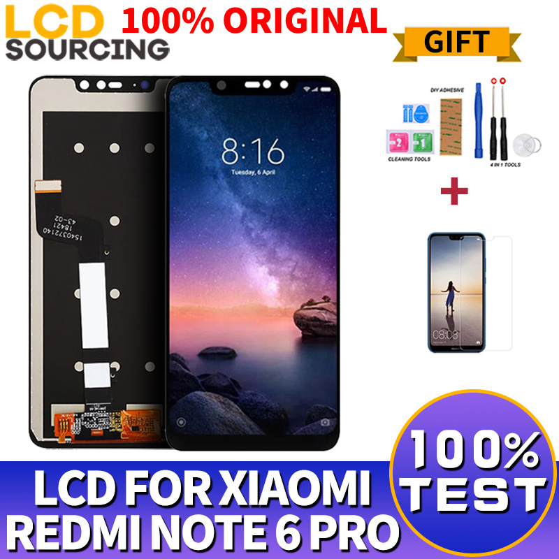 100% ORIGINAL For Xiaomi <font><b>Redmi</b></font> <font><b>Note</b></font> 6 <font><b>Pro</b></font> <font><b>LCD</b></font> Touch Screen Digitizer Assembly + Frame For <font><b>Redmi</b></font> <font><b>Note</b></font> 6 <font><b>Pro</b></font> Display Replace image