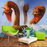 Beibehang Tùy Chỉnh 3 d phòng wallpaper ảnh 3 3 d kinh dị dragon head biển rắn thiết lập TV tranh tường hình nền cho bức tường
