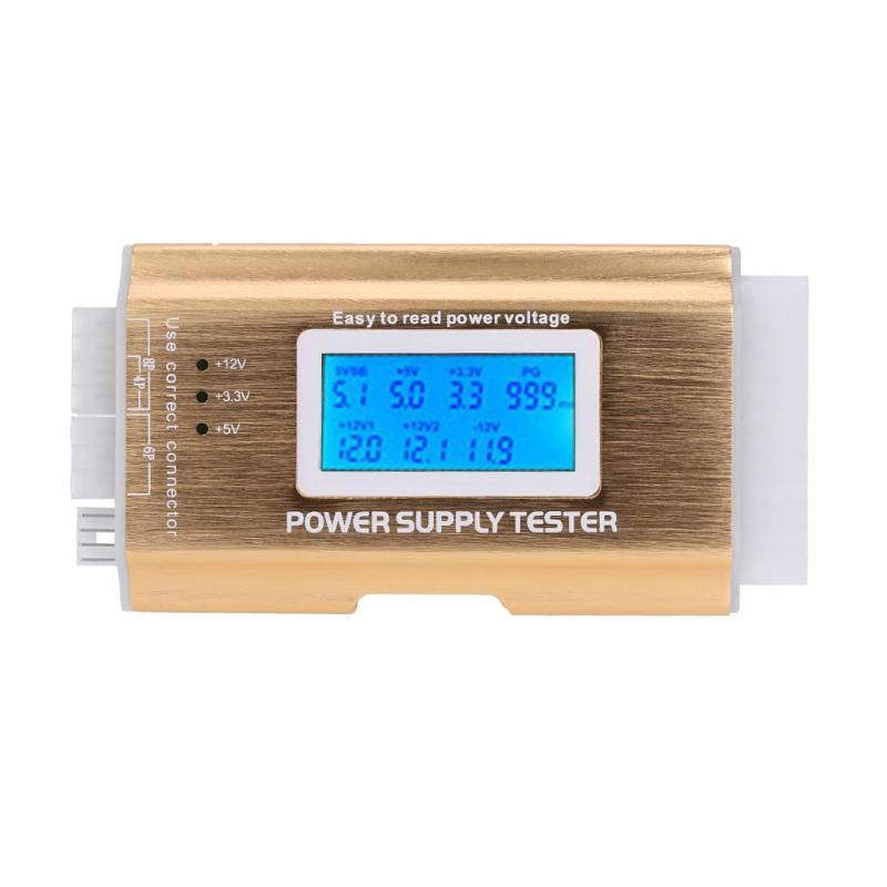 Power Supply Tester Digital LCD PC Supply Tester ATX 20/24 Pin Computer Checker Power Measuring Diagnostic Tester Tools