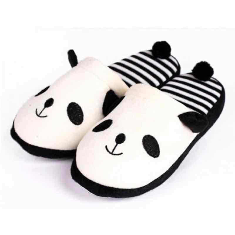 Vrouwen Herfst Winter Slipper Leuke Panda Gestreepte Koraal Fluwelen Warme Zachte Anti-slip Thuis Slippers Dier Pluche Schoenen met staart #926
