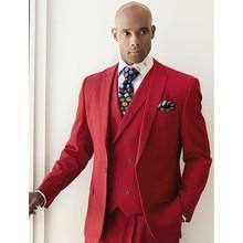 Men Suit Red Fashion Blazer With Double Breasted Vest Wedding Suits Formal Party Tuxedo Slim 3 Pieces (Jacket+Pants+Vest) suit
