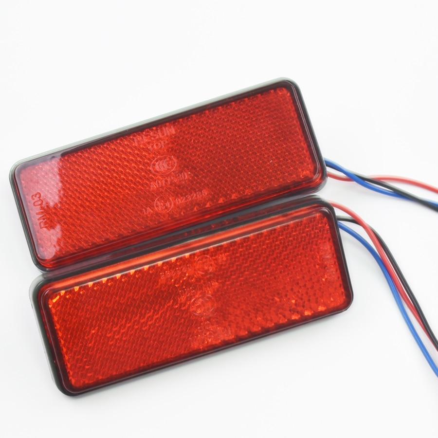 1 pair Motorcycle LED Rectangle Reflector Turn Brake Tail Light Amber/white/red for Universal Car Truck Trailer DC12V cool steering turn light for car red light 12v pair