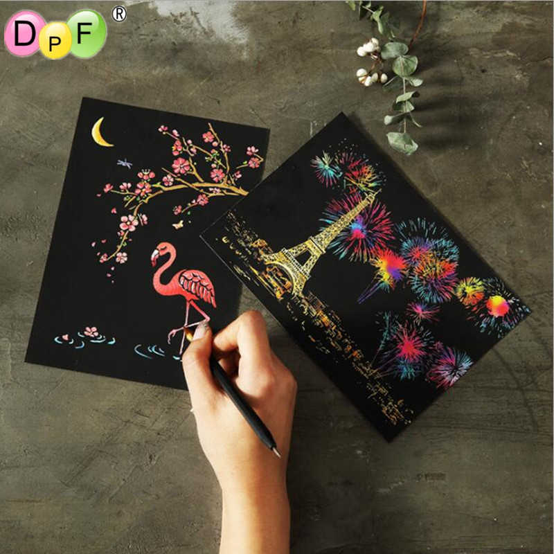 DPF Magic Scratch Art Painting Paper With Drawing Stick postcard Drawing Toys home decoration Scraping best gift
