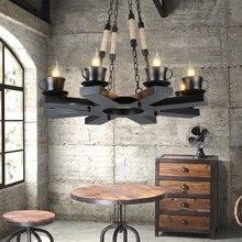 Amerikanischen Land Industrielle Hanfseil Lampe Retro Wohnzimmer Leuchtet Restaurant Cafe Designer Glas Eisen Pendelleuchte