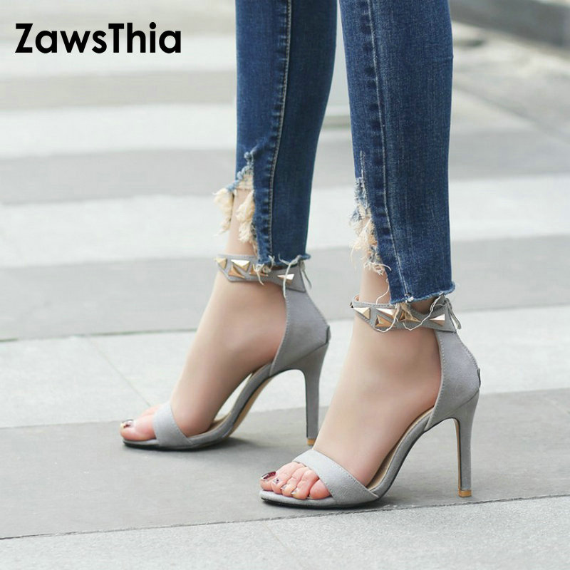 ZawsThia 2018 new fashion sexy woman thin high heels women shoes ankle wrap peep toe summer female gladiator sandals big size 43 2017 new summer fashion women casual shoes genuine leather lady leisure sandals gladiator all match ankle peep toe flowers