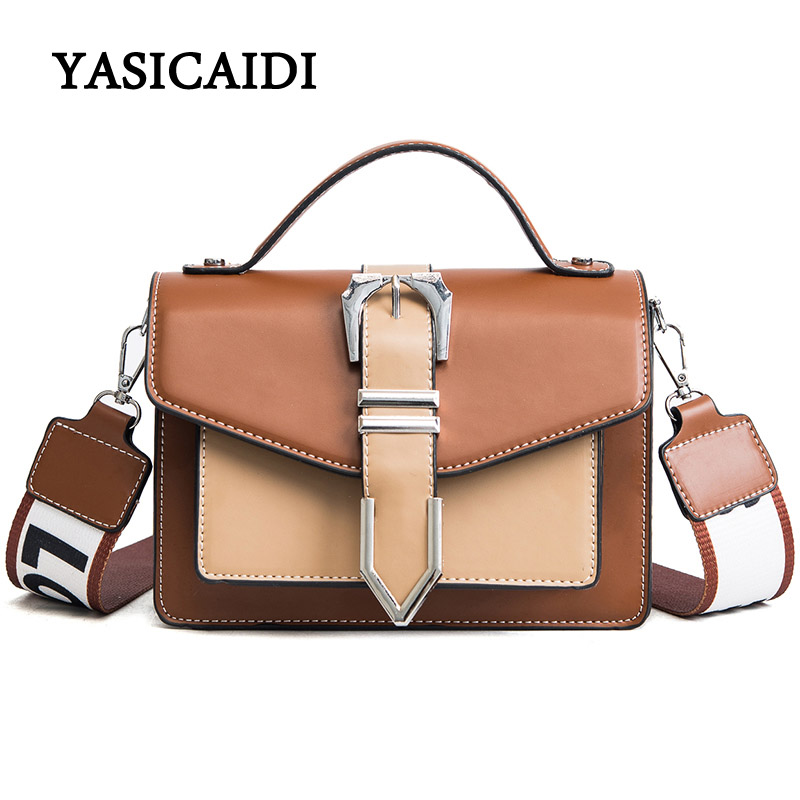 Letter Wide Shoulder Straps Women Handbag Pu Leather Printed Shoulder Bag Female Large Capacity Fashion Tote Shopping Handbags