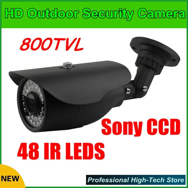 Black HD Sony CCD 800TVL 48 IR LEDs IR Cut 6mm Security Outdoor Bullet CCTV Camera lab 302f 6mm lens 1 3 high definition ccd 800tvl surveillance cctv camera w 6 ir leds