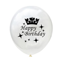 5PCS 12 Inches Round Transparent Latex Paper Balloon For Birthday Party Decoration Crown Age Confetti
