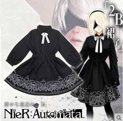 Hot Anime Game NieR:Automata cosplay Actress 2B Two dimensions cartoon daily girls Lolita black dress costume