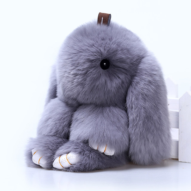 2017 Key ring Real Genuine Rex rabbit Furs Keychain Pendant Bag Car Charm Tag Cute Rabbit Toy Doll Real Fur Monster Keychains