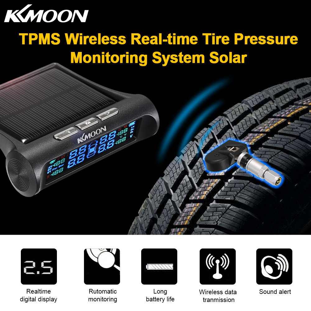 US $25 84 46% OFF KKmoon TPMS Wireless Real time Tire Pressure Monitoring  System with Voice Prompt LCD Display 4 Internal Sensors Alarm Function-in