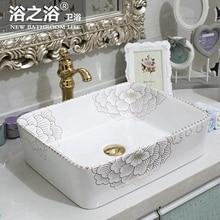 Jingdezhen ceramic art countertop wash basin for bathroom