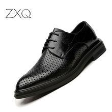 New Design Men Summer Dress Shoes 2018 Man Flat Classic Geometric Pattern Leather Italian Formal Oxford