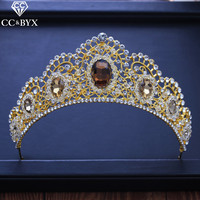 CC big tiaras and crowns hairbands luxury shine rhinestone pageant engagement wedding hair accessories for bridal jewelry XY196