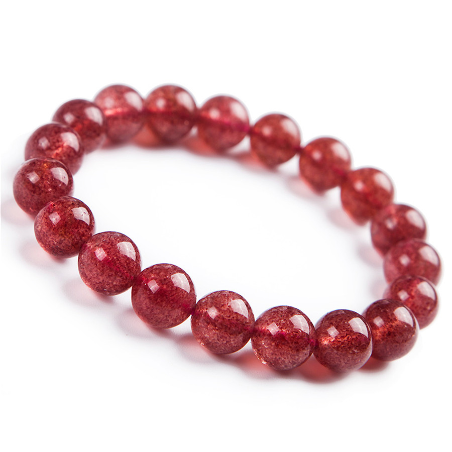 Natural Strawberry Quartz Crystal Clear Round Beads Charm Stretch Women Bracelet 10mm 8mm 9mm 10mm yellow faced marquise abacus natural quartz crystal beads bracelet for women stretch charm bracelet femme