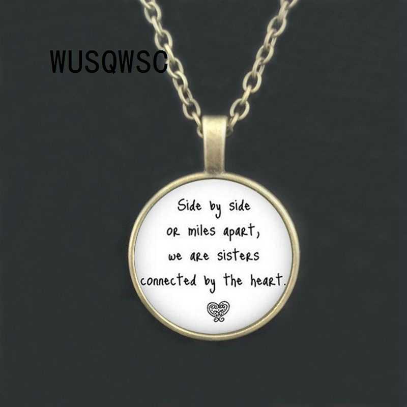 WUSQWSC 3 цвета Цитата папоротник сестренка ожерелье кулон сестры я люблю свою сестренку кулон бок о бок ожерелье