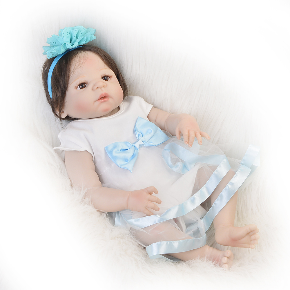 New 23'' Full Silicone Vinyl Reborn Baby Girl Wear Dress Realistic Baby Dolls Fiber Hair bebe Alive Reborns Can Bathe Kids Gifts 23 russian silicone reborn baby girl full body vinyl dolls touch real baby dolls lifelike real hair new 2017 kids playmates