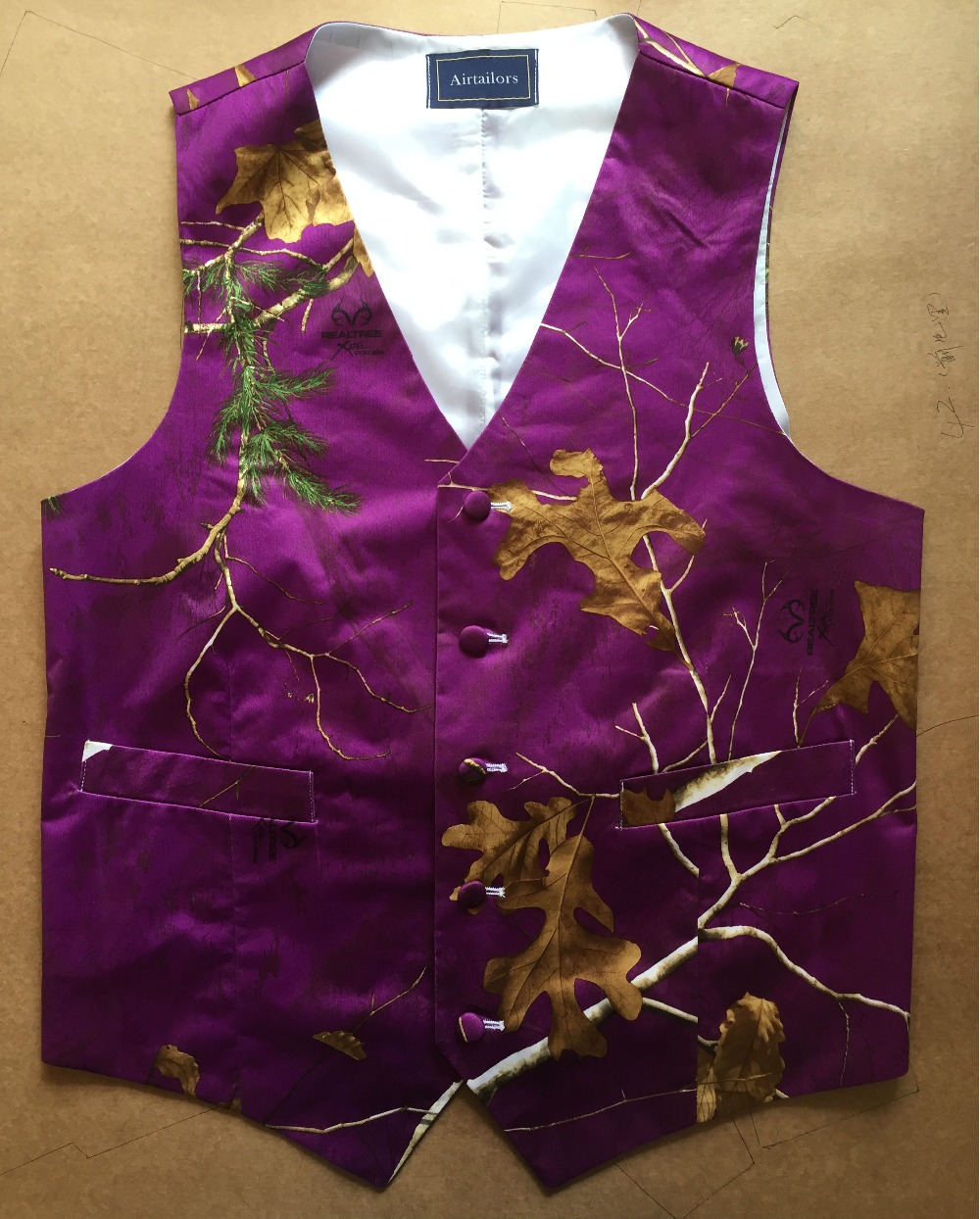 2019 Airtailors Designed Purple Realtree Camouflage Vest For Rustic Wedding Fashion Dress Vest