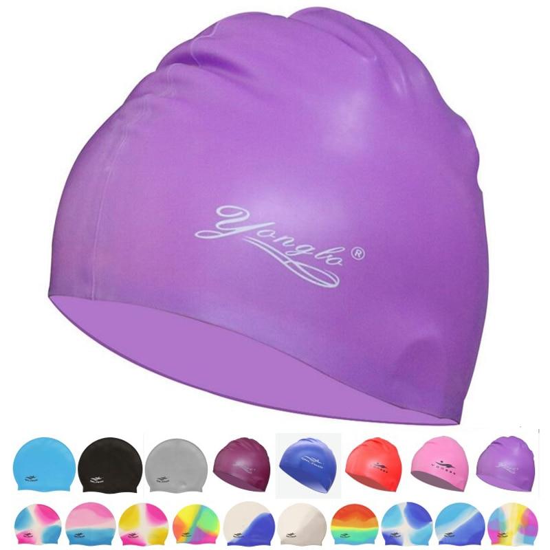 Nova mulher homens à prova dwaterproof água flexível silicone gel orelha longo proteção do cabelo natação piscina boné chapéu capa para crianças adultas