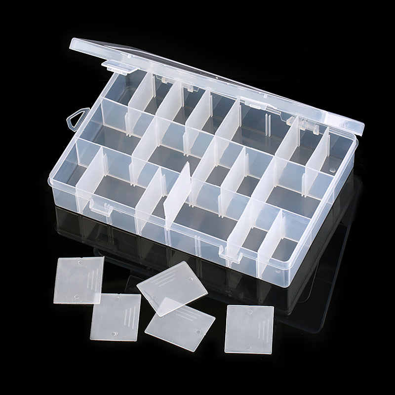 19.5x13x3.5CM rectangle Adjustable Jewelry Container Box Case Compartment Plastic Storage Box  for Beads earrings 24 slots 1PCS