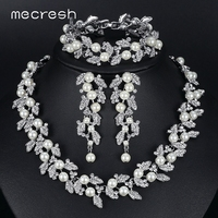 3pcs Set Noble Round Pearl With Top Crystal Bridal Wedding Accessories Jewelry Sets TL283 SL089