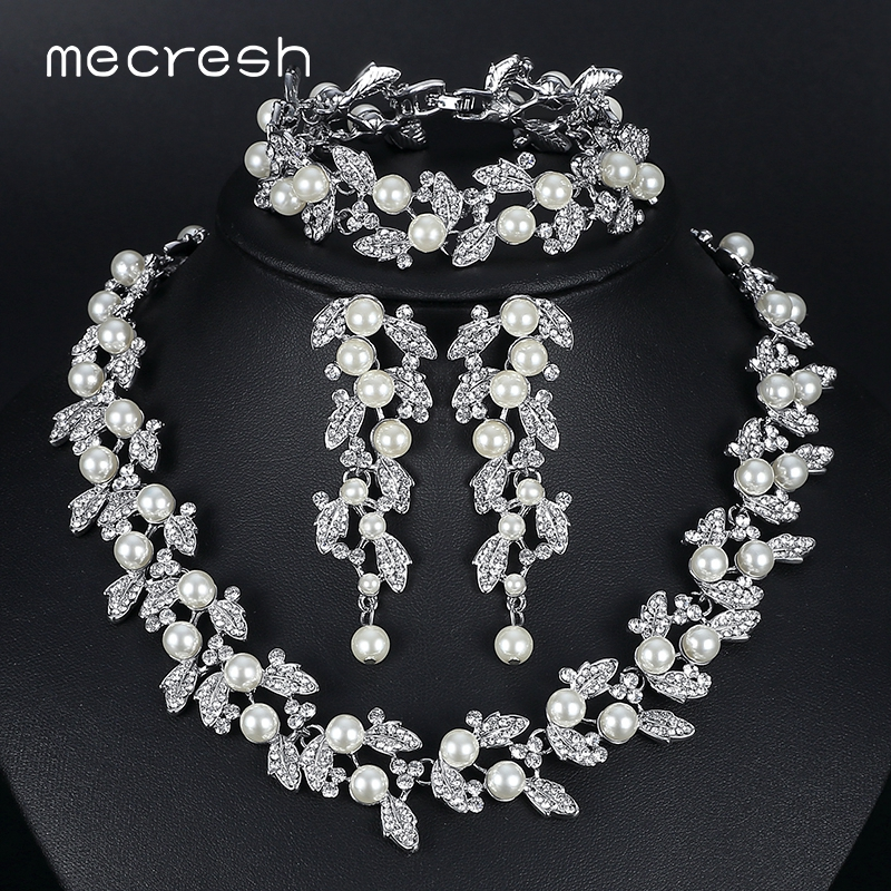 Mecresh Simulated Pearl Bridal Jewelry Sets Silver / Gold-Color Necklace Set Wedding Jewelry Parure Bijoux Femme TL283+SL089 emmaya luxury freshwater pearl bridal jewelry sets silver color earring necklace set wedding jewelry parure bijoux femme