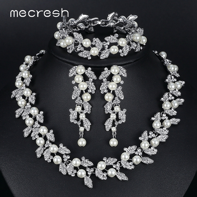 Mecresh simulated pearl bridal jewelry sets silver gold color mecresh simulated pearl bridal jewelry sets silver gold color necklace set wedding jewelry parure junglespirit Image collections