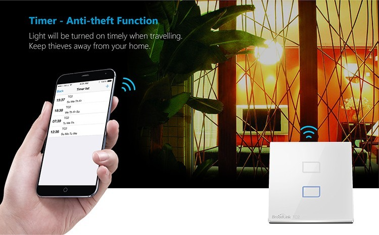 11-Broadlink TC2 2Gang Wifi Wall Light Smart Switch RF433MHZ Wireless Remote Control Smart Home Automation System Via Android IOS