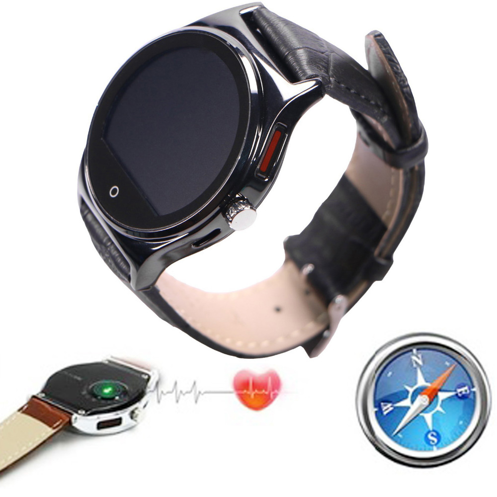 Bluetooth Wrist Smart Watch With PU Leather Strap Heart Rate Monitor For Android IOS SamsungiPhone Motorola LG Huawei HTC image