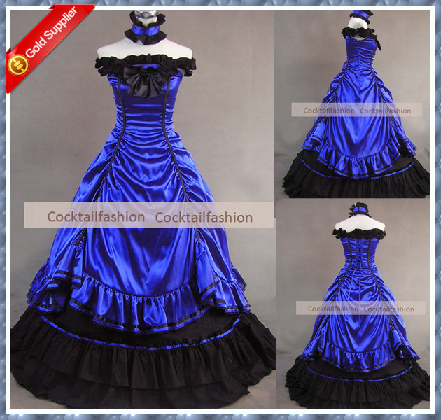 Top19 Real Sample Royal Blue Color Wedding Dresses Gothic Victorian Dress Meval Costumes
