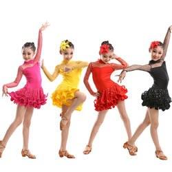 Дети Профессиональный Костюмы для латиноамериканских танцев Танцы платье с блестками Salsa Костюмы для бальных танцев dancwear костюмы для