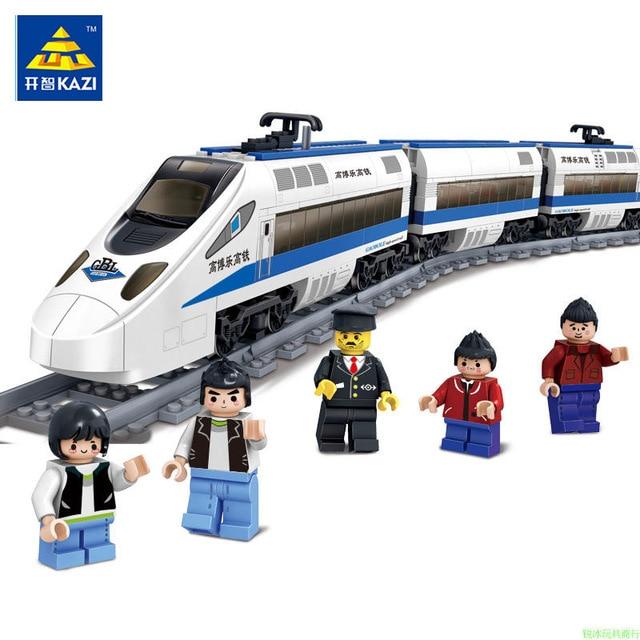 KAZI 98227 GBL Battery Powered Electric Train High-speed Rail DIY Building Blocks 474pcs Bricks Gift toys for children Legoing