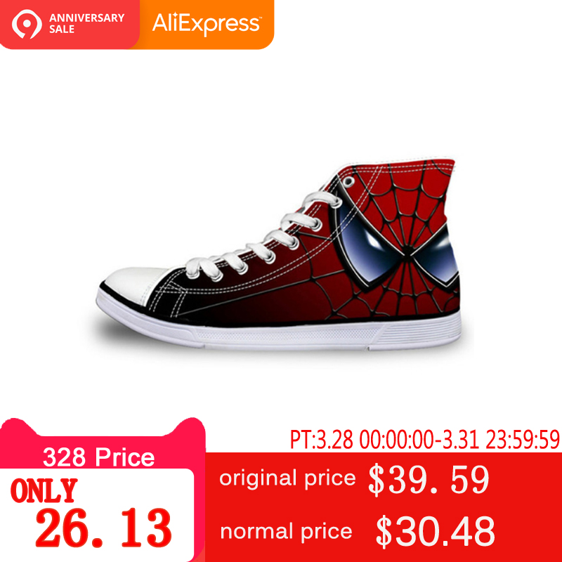 febc5dd740d111 ELVISWORDS Spider Man Print Canvas Shoes Super Batman Men s Leisure Shoes  Zapatos Cool Classic Flats Vulcanize