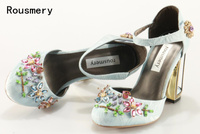 Summer Mary Janes Bling Multi Gem Rhinestone Studs Metal Cage Heel Satin Women Ankle Strap Bridal