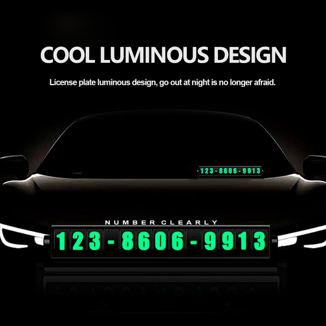 Car Parking Card Luminous Phone Number Plate