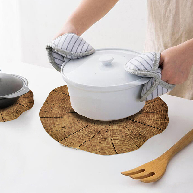 2 Pcs Wood Placemat Tea Cup Mat Coffee Mug Dining Tableware  3
