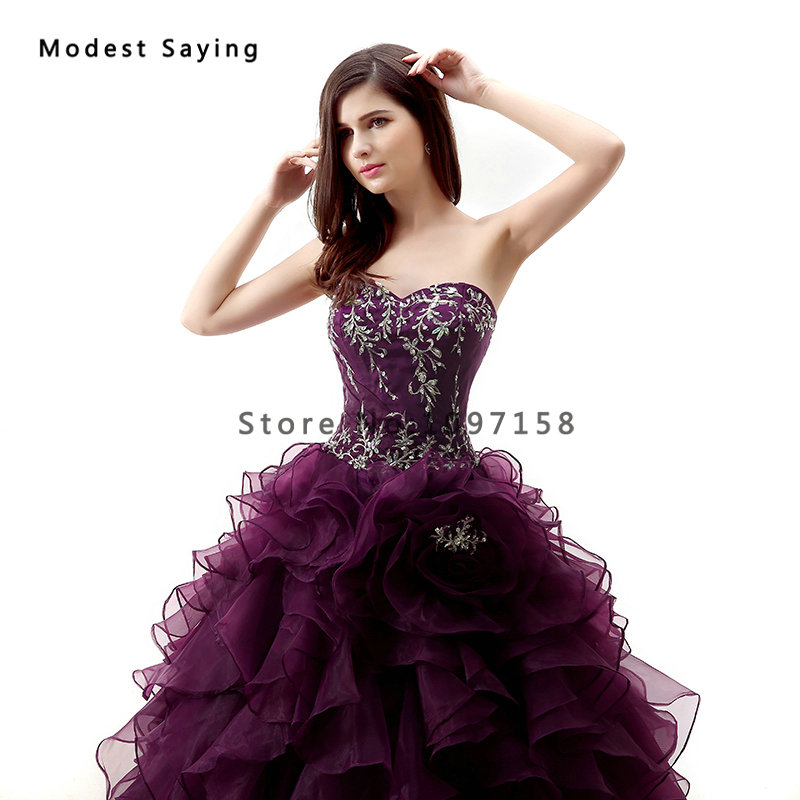 Elegant Grape Purple Ball Gown Sweetheart Beaded Lace Ruffled Quinceanera Dresses 2017 Girls Party Prom Gowns vestido de 15 anos