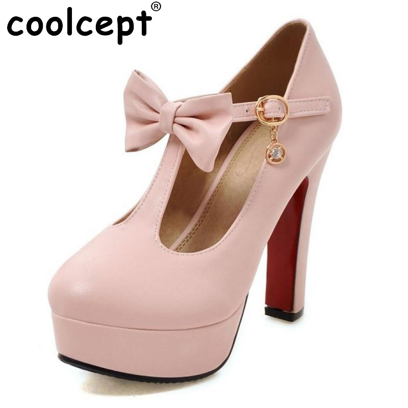 ФОТО Plus Size 31-47 Vintage T-strap Women High Heel Shoes Ladies Brand Bowtie Round Toe Heeled Pumps Fashion Platforms Shoes Women