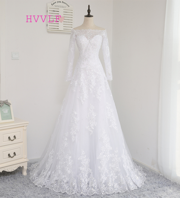 HVVLF 2018 Muslim Wedding Dresses A line Long Sleeves Appliques Lace ...