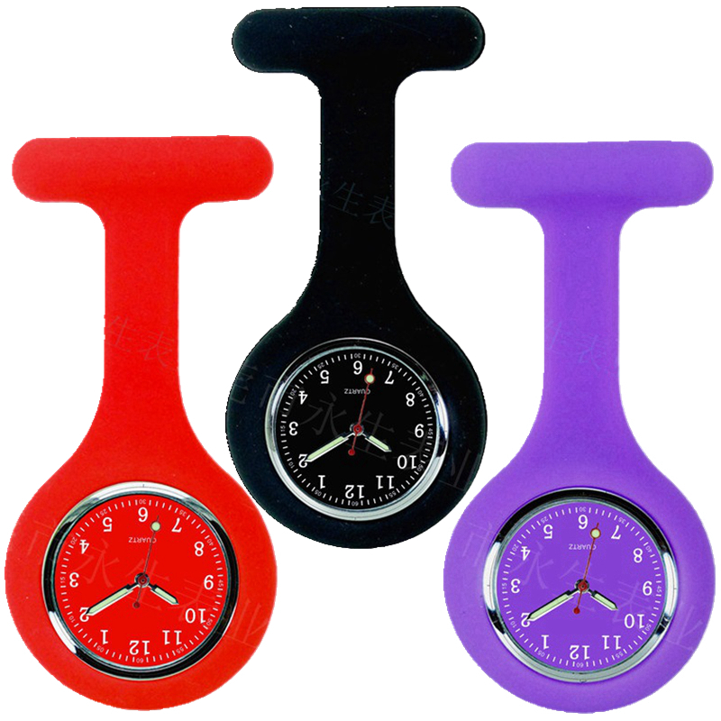 Colorful Design New Doctor Nurse Silicone Rubber Watches FOB Pocket Watches Hospital Medical Personal Women Ladies Clock Watches