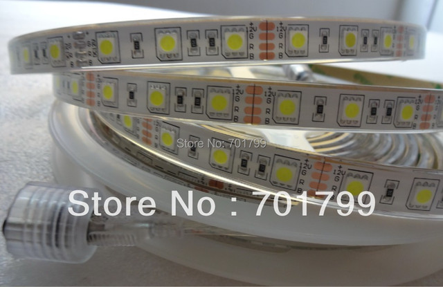 5m WHITE color 5050 300LEDS 60leds/m led flexible strip,DC12V,IP68;epoxy resin filled