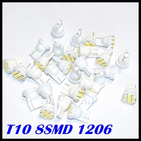 Prix pour En gros 500 pcs/lot blanc 1206/3020 smd T10 8smd 194 168 192 W5W t10 8led LED Blanc Side Car Wedge Lampe de Lumière de Queue Ampoule