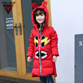 2016 Winter Girls Long Down Coat Cotton Hoody Parka Print Thick Warm Children's Winter Clothing Outerwear&Coats SY112402