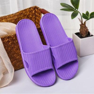 Домашние тапочки для пары; сезон лето; Домашние Нескользящие шлепанцы для ванной; уличная мода; амортизирующая повседневная обувь в полоску для мужчин и женщин; пляжная обувь - Цвет: 02 purple