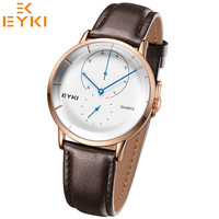EYKI Fashion Casual Men S Watches Leather Strap Analog Display Business Clock 3 ATM Water Resistant