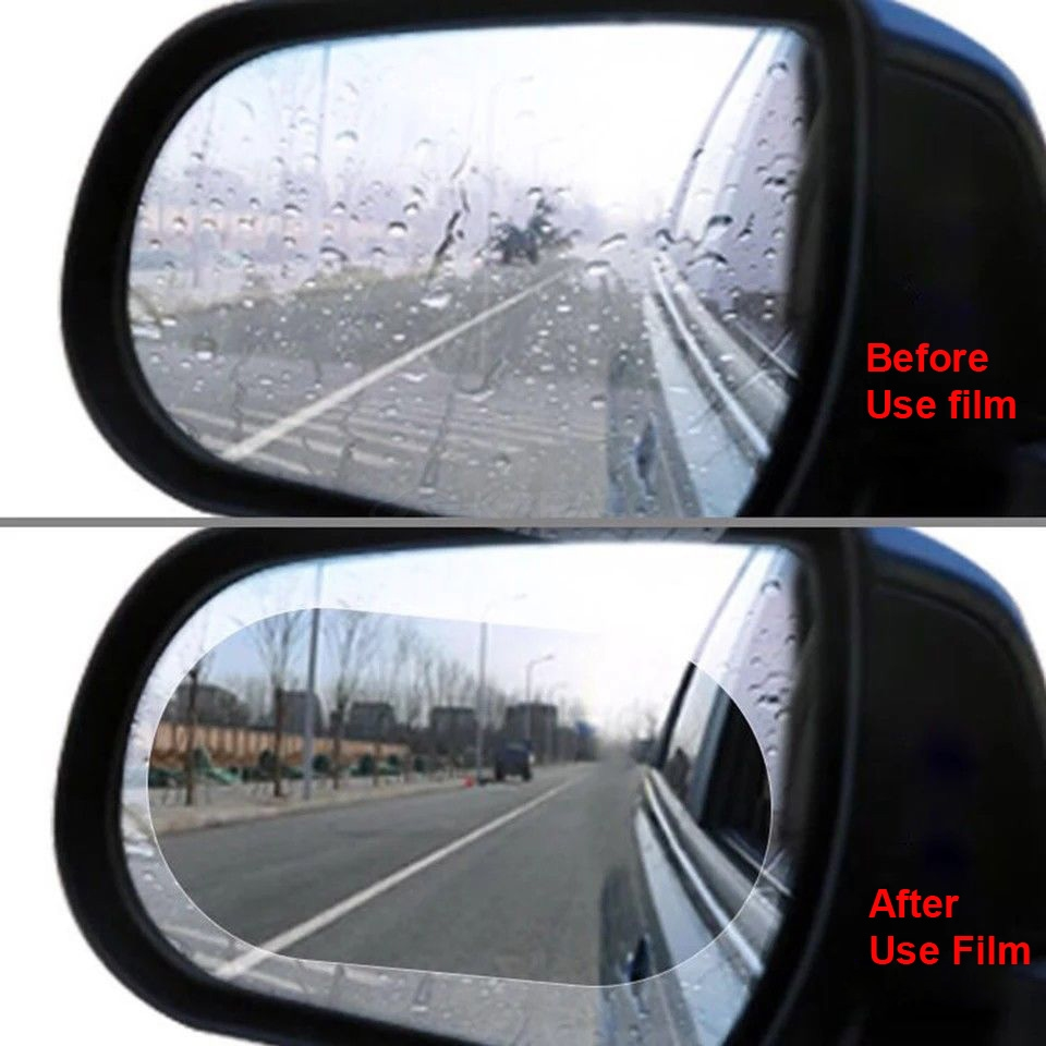 2PCS Anti fog film Rainproof film Car rearview Review mirror rain film Round oval foil sticker transparent film car accessories image